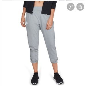 UNDER ARMOUR Grey Terry Tapered Slouch Pants Med